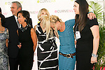 Jean-Luc Teinturier, Josie Natori, Carole Hochman, Betsey Johnson, and woman on stage at the CURVE and CFDA Party For A Cause event during the CURVENY Lingerie & Swim show, at the Jacob Javits Convention Center, August 2, 2010.
