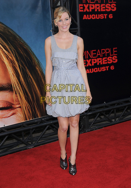 "ELIZABETH BANKS.The Columbia Pictures' World Premiere of ""Pineapple Express"" held at The Mann's Village Theatre in Westwood, California on .July 31st, 2008 .full length grey gray blue white striped stripes dress silver shoe boots ankle metallic.CAP/DVS.©Debbie VanStory/Capital Pictures."