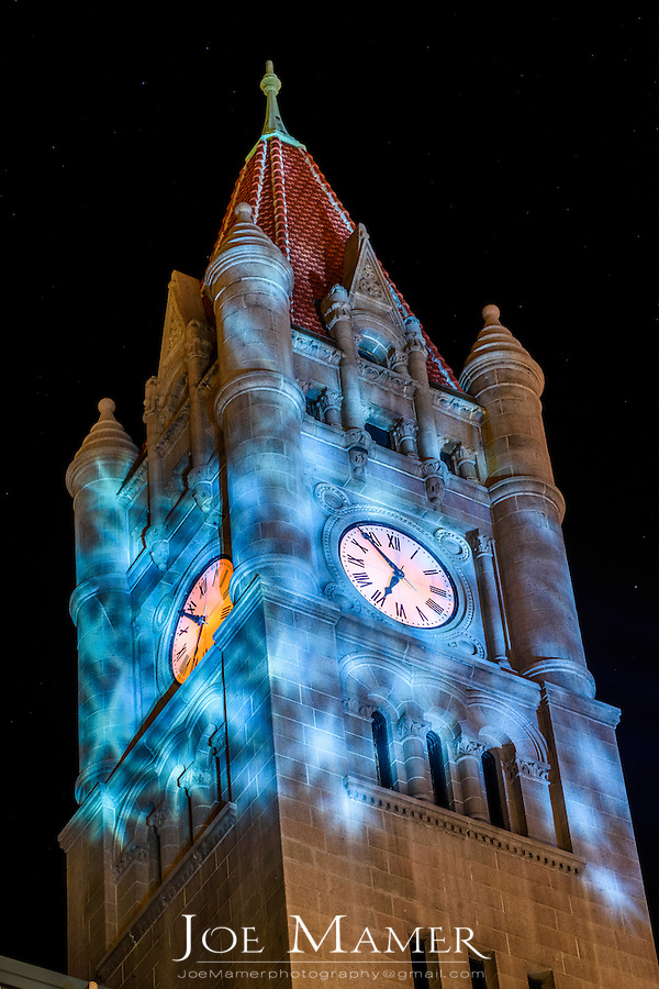 Landmark Center in Downtown Saint Paul, Minnesota at night with lighting for the 2017 Winter Carnival.