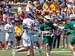 Sean Eccles (#38) watches his shot as UAlbany Lacrosse defeats Vermont 14-4  in the American East Conference Championship game at Casey Stadium, May 5.