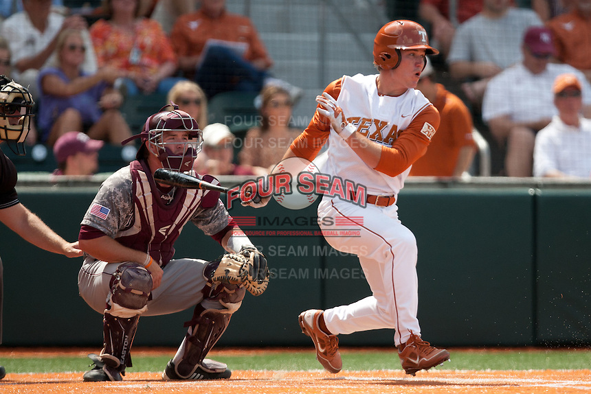 Texas Longhorns second baseman Jordan Etier #7 swings during the NCAA baseball game against the Texas A&M Aggies on April 29, 2012 at UFCU Disch-Falk Field in Austin, Texas. The Longhorns beat the Aggies 2-1 in the last ever regular season game scheduled for the long time rivals. (Andrew Woolley / Four Seam Images)