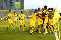 01th November 2019; Bezerrao Stadium, Brasilia, Distrito Federal, Brazil; FIFA U-17 World Cup Brazil 2019, Australia versus Nigeria; Players of Australia celebrate their second goal from Noah Botic in the 54th minute for 2-1 - Editorial Use