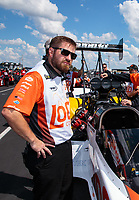 Sep 3, 2018; Clermont, IN, USA; Crew member for NHRA top fuel driver Blake Alexander during the US Nationals at Lucas Oil Raceway. Mandatory Credit: Mark J. Rebilas-USA TODAY Sports
