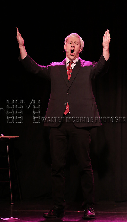 Mitchel Kawash as Mike Pence performs onstage during the 'ME THE PEOPLE: The Trump America Musical' Press Preview Presentation at The Triad Theater on June 21, 2017 in New York City.
