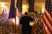 United States Secretary of Defense Donald H. Rumsfeld talks to soldiers, Marines and airmen in the Al Faw Palace at Camp Victory, Iraq, on May 13, 2004.  Rumsfeld and Chairman of the Joint Chiefs of Staff General Richard B. Myers are in Iraq to visit the troops in Baghdad and Abu Ghraib.   <br /> Mandatory Credit: Jerry Morrison / DoD via CNP