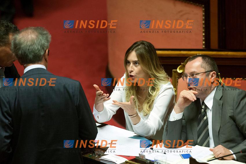 Luigi Zanda, Maria Elena Boschi e Luciano Pizzetti<br /> Roma 06-08-2014  Senato. Discussione sul DdL Riforme costituzionali che prevede anche la riforma del Senato. <br /> Photo Samantha Zucchi Insidefoto