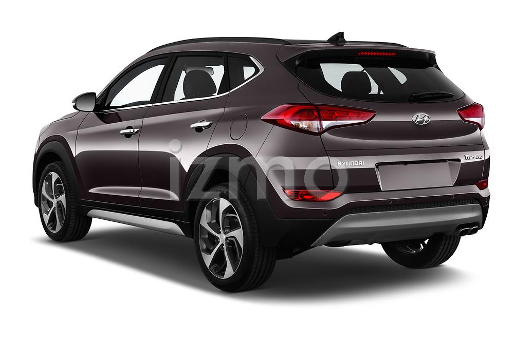 Car pictures of rear three quarter view of a 2018 Hyundai Tucson Executive 5 Door SUV angular rear