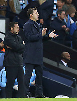 Tottenham Hotspur manager Mauricio Pochettino applauds his side from the technical area<br /> <br /> Photographer Rich Linley/CameraSport<br /> <br /> UEFA Champions League - Quarter-finals 2nd Leg - Manchester City v Tottenham Hotspur - Wednesday April 17th 2019 - The Etihad - Manchester<br />  <br /> World Copyright © 2018 CameraSport. All rights reserved. 43 Linden Ave. Countesthorpe. Leicester. England. LE8 5PG - Tel: +44 (0) 116 277 4147 - admin@camerasport.com - www.camerasport.com