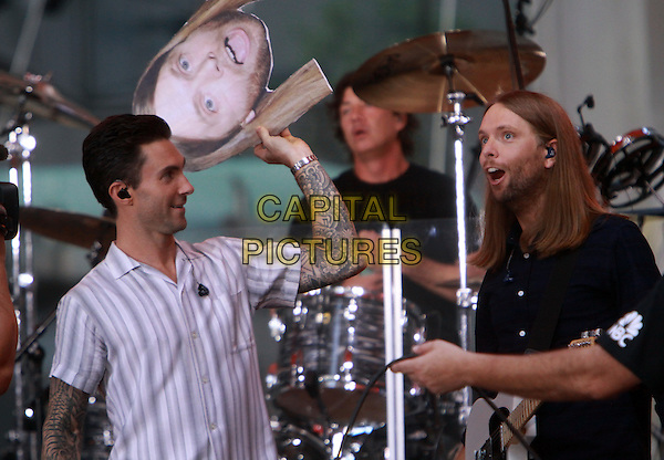 September 01, 2014: Adam Levin  James Valentine of Maroon 5 perform  at NBC's Today Show Concert Series and wearing James Valentine mask  in New York.<br /> CAP/MPI/RW<br /> &copy;RW/MPI/Capital Pictures