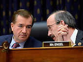 """New United States House Committee on Foreign Relations leadership, Chairman Ed Royce (Republican of California), left, and Ranking Member Eliot Engel (Democrat of New York), right share some thoughts during the testimony of U.S. Secretary of State Hillary Rodham Clinton in the hearing on """"Terrorist Attack in Benghazi: The Secretary of State's View"""" in Washington, D.C. on Wednesday, January 23, 2013..Credit: Ron Sachs / CNP.(RESTRICTION: NO New York or New Jersey Newspapers or newspapers within a 75 mile radius of New York City)"""