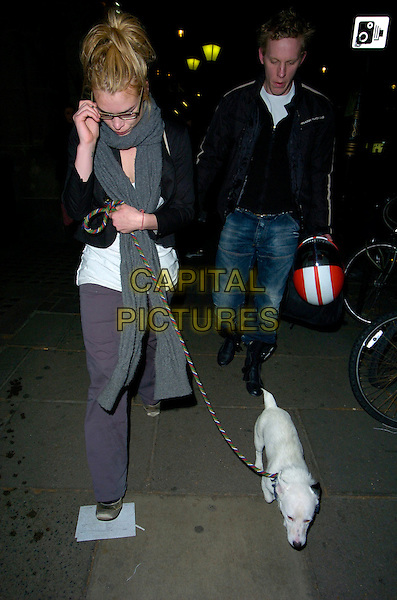 "BILLIE PIPER & LAURENCE FOX.Leaving the Garrick Theatre after their performance in ""Treats"", London, England, March 27th 2007..full length walking dog pet grey scarf glasses couple boyfriend girlfriend motorcycle motor bik bike helmet.CAP/CAN.©Can Nguyen/Capital Pictures"