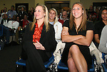 16 January 2009: Amy Rodriguez (left) and Nikki Krzysik (right) wait to be drafted. The 2009 inaugural Womens Pro Soccer (WPS) Draft was held at the Convention Center in St. Louis, Missouri in conjuction with the National Soccer Coaches Association of America's annual convention.