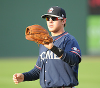 Infielder Brandon Drury (2) of the Rome Braves, an Atlanta Braves affiliate, prior to a game against the Greenville Drive on August 13, 2012, at Fluor Field at the West End in Greenville, South Carolina. Drury is Atlanta's No. 10 prospect according to Baseball America. Rome won, 3-2. (Tom Priddy/Four Seam Images)
