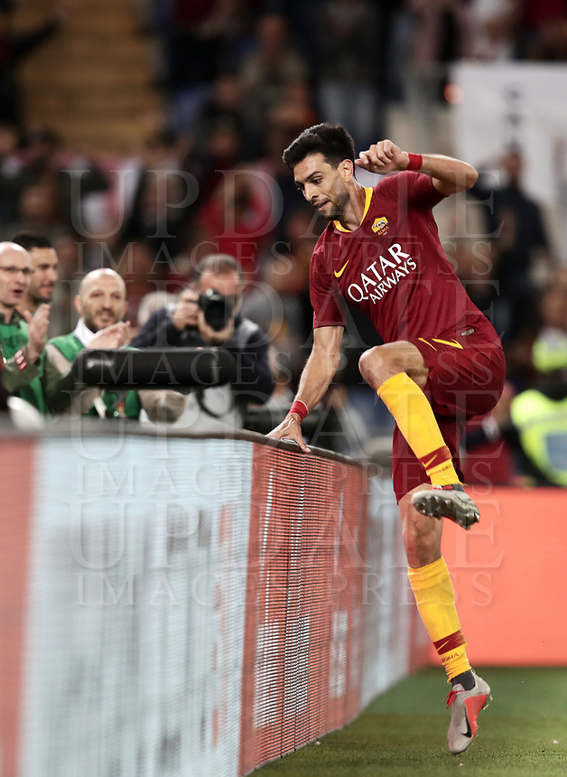 Football, Serie A: AS Roma - Frosinone, Olympic stadium, Rome, 26 September 2018. <br /> Roma's Javier Pastore celebrates after scoring during the Italian Serie A football match between AS Roma and Frosinone at Olympic stadium in Rome, on September 26, 2018.<br /> UPDATE IMAGES PRESS/Isabella Bonotto