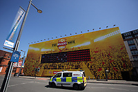 Pictured: A police van travels past a Walkers Wave giant screen in Westgate Street. Thursday 25 May 2017<br />Re: Preparations for the UEFA Champions League final, between Real Madrid and Juventus in Cardiff, Wales, UK.