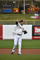 Grant Green (6) of the Salt Lake Bees warms up prior to the game against the Sacramento River Cats at Smith's Ballpark on April 3, 2014 in Salt Lake City, Utah.  (Stephen Smith/Four Seam Images)
