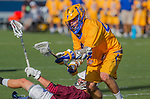 Costa Mesa, CA 03/08/14 - Dustin Marinelli (LMU #14) and Johnny Morgan (UCSB #44) in action during the MCLA Loyola Marymount vs UC Santa Barbara men's lacrosse game as part of the 2014 Pacific Shootout.  UCSB defeated LMU 12-7 at Le Bard Stadium.