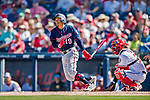 2 March 2019: Minnesota Twins infielder Ronald Torreyes at bat during a Spring Training game against the Washington Nationals at the Ballpark of the Palm Beaches in West Palm Beach, Florida. The Twins fell to the Nationals 10-6 in Grapefruit League play. Mandatory Credit: Ed Wolfstein Photo *** RAW (NEF) Image File Available ***
