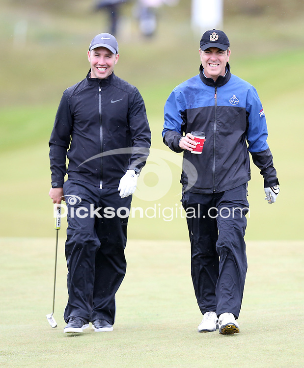 27 May 2015; Paddy Wallace and James Nesbitt playing the 9th<br /> <br /> Dubai Duty Free Irish Open Golf Championship 2015, Pro-Am. Royal County Down Golf Club, Co. Down. Picture credit: John Dickson / DICKSONDIGITAL