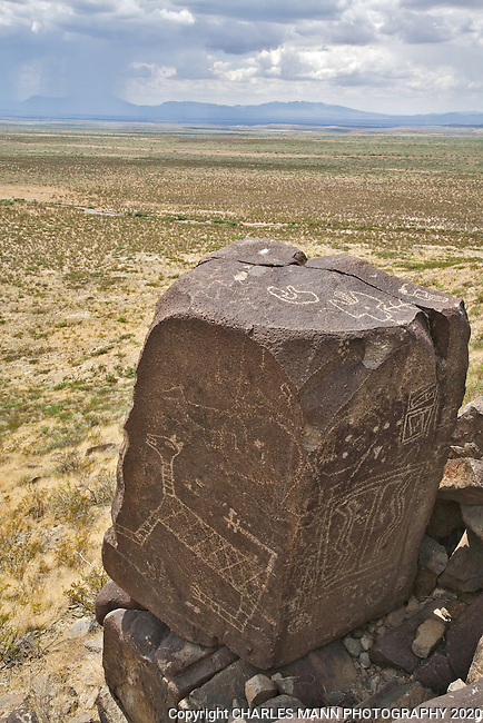 A large stone block is adorned with a petroglyph resembling a cat which seems to keep watch over the  Tularosa Basin at Three Rivers Stae Park near Tularosa, New Mexico