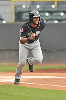 Lansing Lugnuts center fielder Joshua Palacios (2) runs to first base during a game against the Clinton LumberKings at Ashford University Field on May 9, 2017 in Clinton, Iowa.  The Lugnuts won 11-6.  (Dennis Hubbard/Four Seam Images)