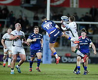 6th March 2020; AJ Bell Stadium, Salford, Lancashire, England; Gallagher Premiership Rugby, Sale Sharks versus London Irish;  Denny Solomona of Sale Sharks and Tom Parton of London Irish compete for the ball in the air