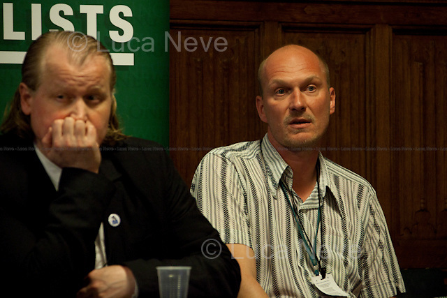 London, 19/04/2012. House of Parliament, Committee Room 12. NUJ (National Union of Journalists) organised a meeting to discuss the protection of sources and journalistic material in production order cases. From the NUJ London Photographer Branch (LPB) website:  <<All those involved (freelance video journalist Jason Parkinson, BBC, ITN, BskyB, Hardcash Productions) in the Dale Farm production order case have shown great concern at the increase in the use of production orders against the media over the last 18 months and the fear is journalists are being forced into becoming the eyes and ears of the state. The consequences of this can have serious implications towards the impartiality and safety of journalists in the future>>. The speakers included: John Battle (ITN Head of Compliance), Gavin Millar QC (Doughty Street Chambers, lawyer specialised in media, public, employment and discrimination law), Jason Parkinson (NUJ freelance video journalist), Michelle Stanistreet (NUJ general secretary). Chair of the event was Austin Mitchell (Labour MP).