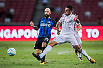 FC Internazionale Midfielder Borja Valero (L) fights for the ball with Bayern Munich Midfielder Corentin Tolisso (R) during the International Champions Cup match between FC Bayern and FC Internazionale at National Stadium on July 27, 2017 in Singapore. Photo by Marcio Rodrigo Machado / Power Sport Images