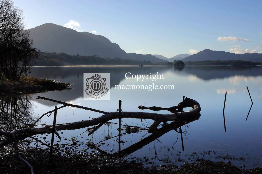 A tranquil scene over Lough Lein, Killarney on Sunday as mist rises from the cool blue waters. The severe weather largely bypassed Kerry  leaving only frosty scenes and black ice on back roads.. Picture by Don MacMonagle