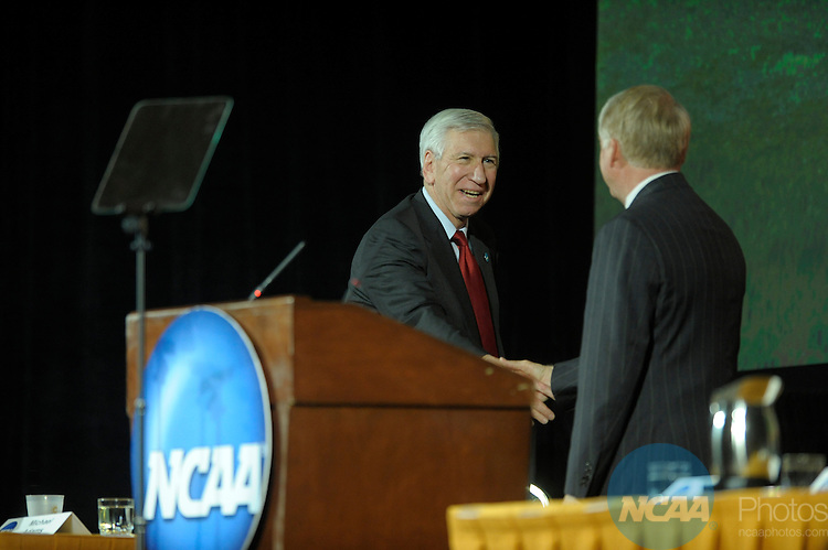 12 JAN 2008:  Staff and delegates participated in the Opening Business Session at the 2008 NCAA Convention held at the Gaylord Palms Opryland Resort and Convention Center in Nashville, TN. Stephen Nowland/NCAA Photos.Pictured: Michael Adams - University of Georgia, Myles Brand - NCAA...