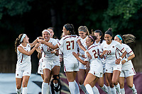 NEWTON, MA - AUGUST 29: Gianna Mitchell #26 of Boston College celebrates her goal with teammates during a game between Boston University and Boston College at Newton Campus Field on August 29, 2019 in Newton, Massachusetts.