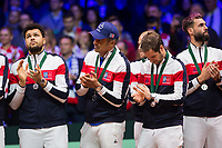 Le joueur de tennis fran&ccedil;ais Lucas Pouille oppos&eacute; au joueur Croate Marin Cilic lors de la  Finale de la Coupe Davis France vs Croatie, au Stade Pierre Mauroy &agrave; Villeneuve d'Ascq .<br /> France, Villeneuve d'Ascq , 25 novembre 2018.<br /> French tennis player Lucas Pouille vs Croatian tennis players Marin Cilic during the final of the Davis Cup, at the Pierre Mauroy stadium in Villeneuve d'Ascq .<br /> France, Villeneuve d'Ascq , 25 November 2018<br /> Pic :   Jo-Wilfried Tsonga, Yannick Noah