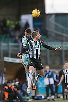 Paris Cowan-Hall of Wycombe Wanderers beats Gary Sawyer of Plymouth Argyle during the Sky Bet League 2 match between Plymouth Argyle and Wycombe Wanderers at Home Park, Plymouth, England on 30 January 2016. Photo by Mark  Hawkins / PRiME Media Images.