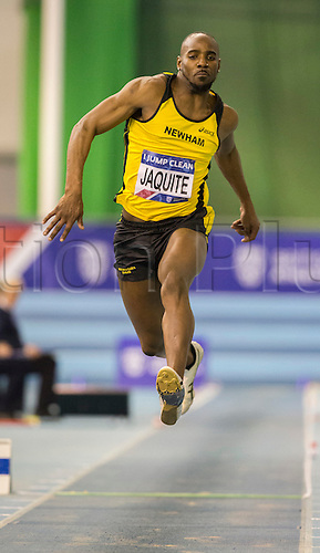 27.02.2016. EIS Sheffield, Sheffield, England. British Indoor Athletics Championships Day One. Ricardo Jaquite (Portugal) competes in the Men's Triple Jump Final.