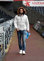 Wednesday, 23 April 2014<br /> Pictured: Kyle Bartley arriving.<br /> Re: Swansea City FC are holding an open training session for their supporters at the Liberty Stadium, south Wales,