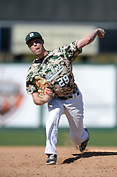Slippery Rock pitcher Anton Constantino (29) during a game against Kentucky Wesleyan College at Jack Russell Stadium on March 14, 2014 in Clearwater, Florida.  Slippery Rock defeated Kentucky Wesleyan 18-13.  (Mike Janes/Four Seam Images)