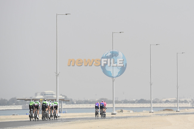 Team Dimension Data practice before Stage 1 of the 2019 UAE Tour, a team time trial running 16km around Al Hudayriat Island, Abu Dhabi, United Arab Emirates. 24th February 2019.<br /> Picture: LaPresse/Fabio Ferrari | Cyclefile<br /> <br /> <br /> All photos usage must carry mandatory copyright credit (© Cyclefile | LaPresse/Fabio Ferrari)