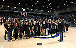Members of the Roy Gomm Elementary School Choir sing the National Anthem before Friday night's Reno Bighorns minor league basketball game, Feb. 11, 2011, against the Fort Wayne Mad Ants at the Reno Events Center in Reno, Nev. .Photo by Cathleen Allison
