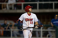 Orem Owlz designated hitter Francisco Del Valle (23) steps into the batter's box during a Pioneer League game against the Ogden Raptors at Home of the OWLZ on August 24, 2018 in Orem, Utah. The Ogden Raptors defeated the Orem Owlz by a score of 13-5. (Zachary Lucy/Four Seam Images)