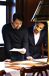 Lin-Manuel Miranda and Alex Lacamoire from the 'Hamilton' creative team during a CBS Morning News interview taping with John Dickerson at The Library of Congress on December 2, 2018 in Washington, D.C.