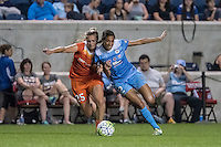 Bridgeview, IL - Saturday July 23, 2016:  Chicago Red Stars forward Cara Walls (12) and Houston Dash midfielder Megan Crosson (25) during a regular season National Women's Soccer League (NWSL) match between the Chicago Red Stars and the Houston Dash at Toyota Park.