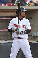Wisconsin Timber Rattlers outfielder Brandon Diaz (5) waits on deck during a Midwest League game against the Beloit Snappers on May 30th, 2015 at Fox Cities Stadium in Appleton, Wisconsin. Wisconsin defeated Beloit 5-3 in the completion of a game originally started on May 29th before being suspended by rain with the score tied 3-3 in the sixth inning. (Brad Krause/Four Seam Images)