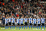 Hercules' players during the minute's silence in memory of earthquake victims in Japan during La Liga match.March 12,2011. (ALTERPHOTOS/Acero)