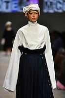 7 September 2017, Melbourne - Model parades design by student Katelin Mcewan during the Melbourne Fashion Week in Melbourne, Australia. (Photo Sydney Low / asteriskimages.com)