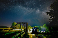 The Milky Way over the War Eagle Mill in Arkansas.