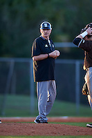 St. Bonaventure Bonnies head coach Larry Sudbrook (8) makes a pitching change during a game against the Dartmouth Big Green on February 25, 2017 at North Charlotte Regional Park in Port Charlotte, Florida.  St. Bonaventure defeated Dartmouth 8-7.  (Mike Janes/Four Seam Images)
