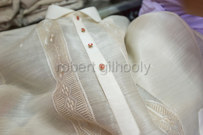 Photo shows a Barong Tagalog shirt inside Cress Lontoc's store in Taal, Batangas Province, the Philippines on Feb. 9, 2015. Barong have been a part of Philippine culture for over five centuries.  ROB GILHOOLY PHOTO
