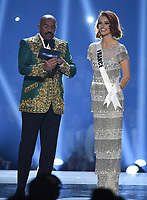 ATLANTA, GA - DECEMBER 8: 2019 MISS UNIVERSE: Host Steve Harvey and Miss France, Maëva Coucke appear on the 2019 MISS UNIVERSE competition airing LIVE on Sunday, Dec. 8 (7:00-10:00 PM ET live/PT tape-delayed) on FOX. (Photo by Frank Micelotta/FOX/PictureGroup)