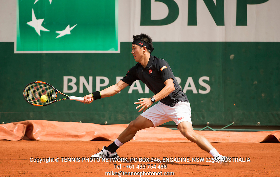 KEI NISHIKORI (JPN)<br /> <br /> TENNIS - FRENCH OPEN - ROLAND GARROS - ATP - WTA - ITF - GRAND SLAM - CHAMPIONSHIPS - PARIS - FRANCE - 2016  <br /> <br /> <br /> <br /> &copy; TENNIS PHOTO NETWORK