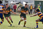 Daniel Crichton has Thomas Short in support as H. Halaleua moves in to make the tackle. CMRFU Counties Power Premier Club Rugby game between Patumahoe & Pukekohe played at Patumahoe on April 12th, 2008..The halftime score was 10 all with Pukekohe going on to win 23 - 18.